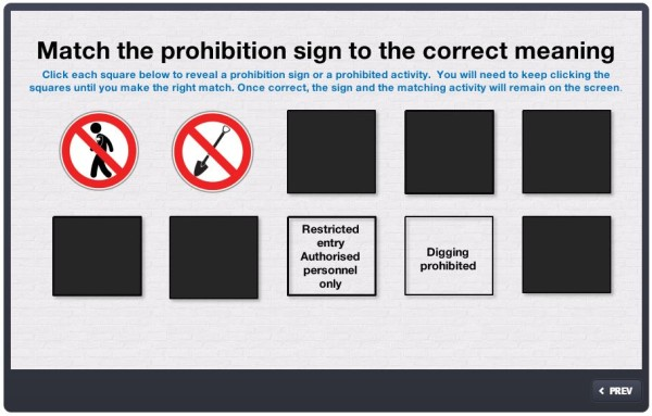 Prohibition signs matching